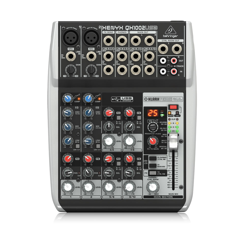 Behringer QX1002USB Mixer Analog 10 in 2 Bus Tích Hợp Mic Preamp, EQ USB FX
