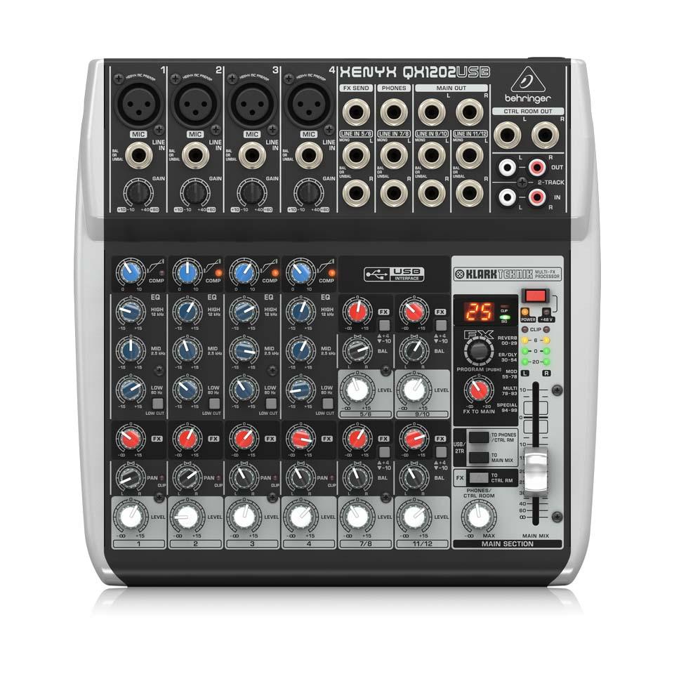 Behringer QX1202USB Mixer Analog 12 input 2 Bus Tích Hợp Mic Preamp EQ USB FX