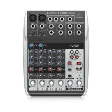Behringer Q802USB Mixer Analog 8 in 2 Bus Tích Hợp Mic Preamp, EQ
